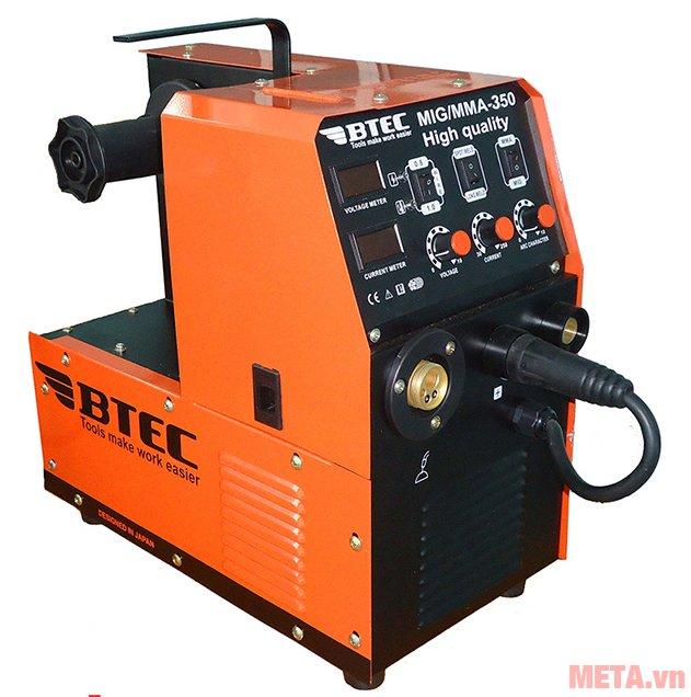Máy hàn điện tử cuộn dây CO2 Btec MIG/MMA 350A có dòng điện ra: 40A - 350A