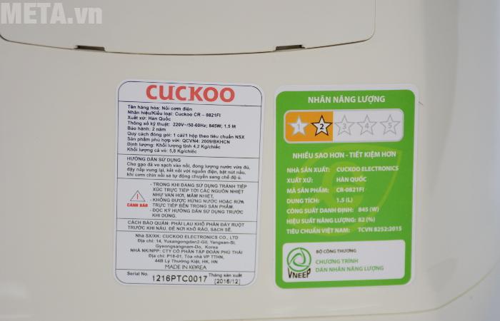 Nhãn năng lượng của nồi cơm Cuckoo CR-0821FI