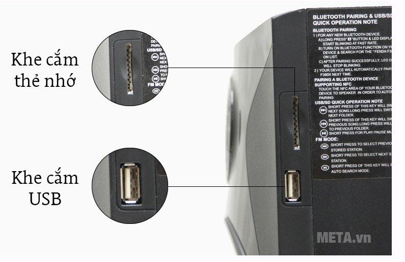Loa Fenda F380X - 2.1 sử dụng khe cắm thẻ nhớ và USB