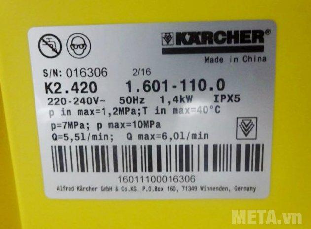 Máy phun rửa áp lực Karcher K2 420 có nhiệt độ nước cấp tối đa 40 độ C