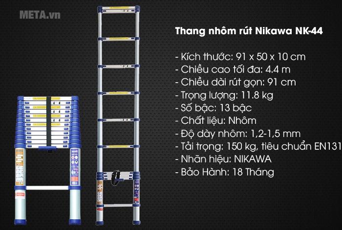 Thông số kỹ thuật của thang nhôm rút đơn
