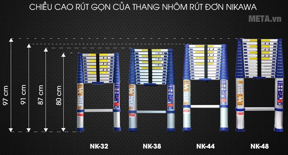 Thang nhôm rút đơn NK-44 và kích thước sử dụng