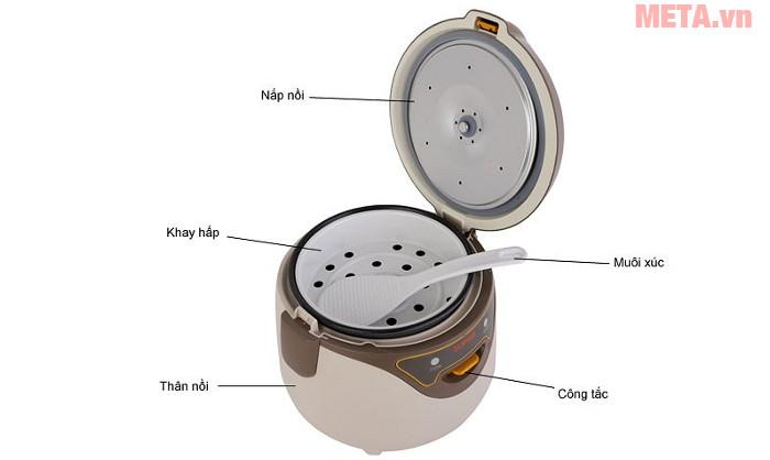 Thiết kế chi tiết của nồi cơm điện mini Supor CFXB16YB3VN-36