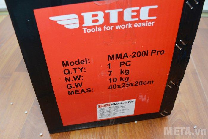 Máy hàn Inverter Btec MMA-200I Pro dùng hàn sắt, thép