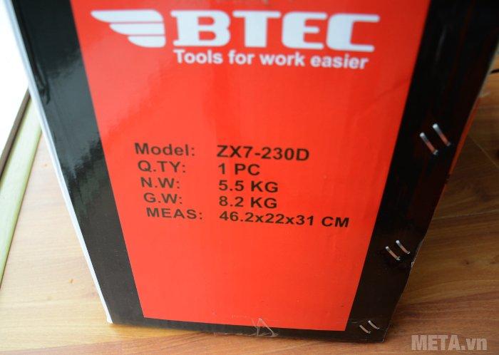 Máy hàn Inverter Btec ZX7-230D có trọng lượng 5.5kg