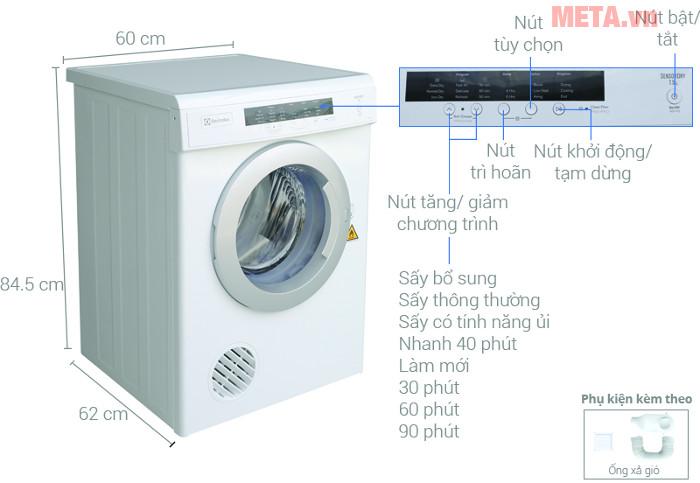 Thiết kế chi tiết của máy sấy Electrolux 7.5 kg EDV7552
