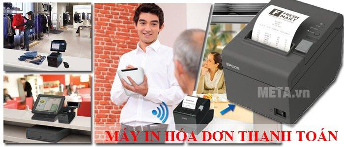 Máy in hóa đơn được sử dụng rộng rãi trong các siêu thị, cửa hàng bán lẻ, nhà hàng, khách sạn...
