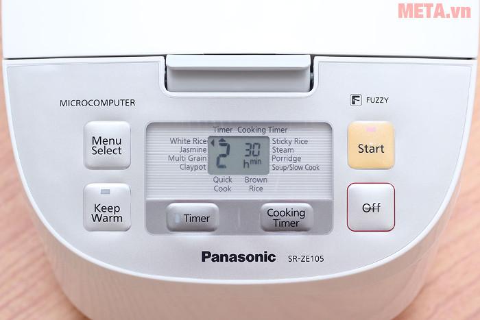 Nồi cơm điện Panasonic SR-ZE105WRAM có màn hình hiển thị trạng thái hoạt động