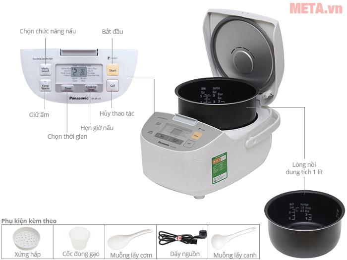 Thiết kế chi tiết của nồi cơm điện Panasonic SR-ZE105WRAM