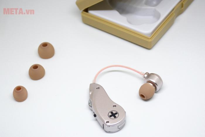 Máy trợ thính không dây Mimitakara UP-6B51 với nhiều nút tai có kích thước khác nhau