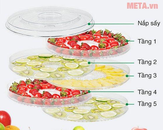 Máy sấy hoa quả, thực phẩm đa năng Tiross TS9682 có 5 tầng sấy