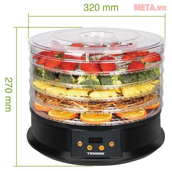 Kích thước máy sấy hoa quả, thực phẩm đa năng Tiross TS9682