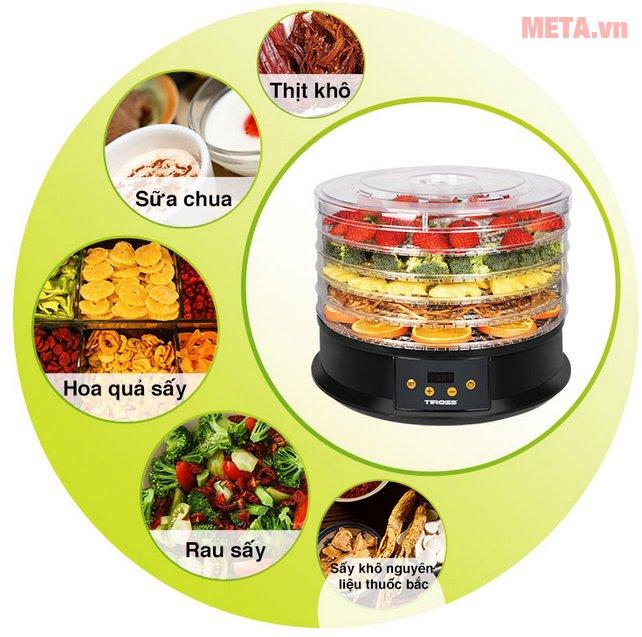 Máy sấy hoa quả, thực phẩm đa năng Tiross TS9682 giúp sấy nhiều loại thực phẩm