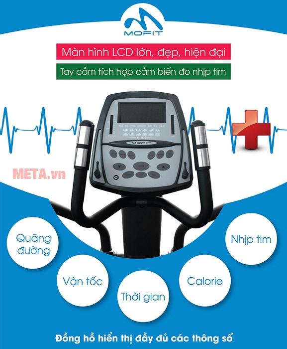 Xe đạp tập cao cấp Mofit 880DF-AT đo được nhịp tim