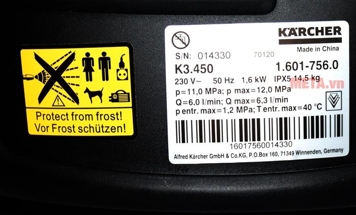 Thông số của máy rửa xe gia đình Kacher