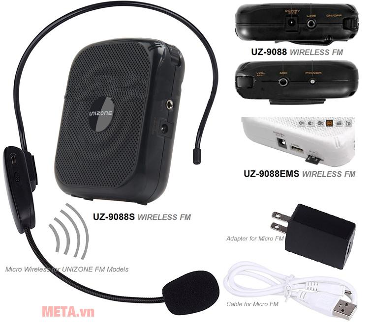 Loa trợ giảng Unizone 9088 F2 được trang bị công cắm USB và thẻ nhớ