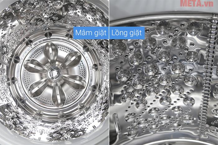 Lồng giặt được làm từ chất liệu thép không gỉ làm sạch quần áo, giúp tiết kiệm điện năng