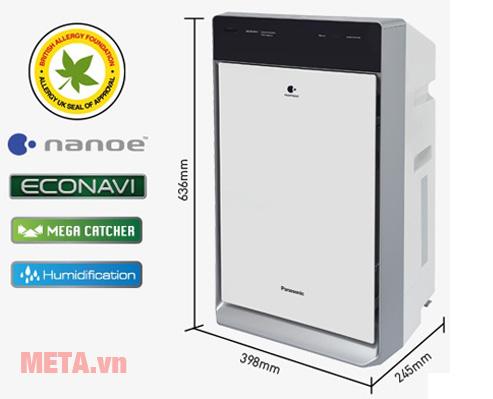 Kích thước của máy lọc không khí và tạo ẩm Panasonic F-VXK70A