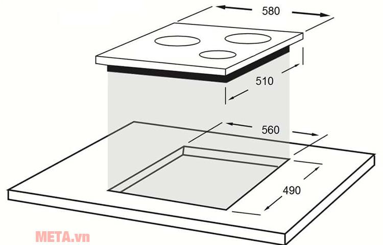 Bếp từ hồng ngoại kết hợp Faber FB-60H2I có thể lắp âm dưới bàn bếp, tiết kiệm không gian bếp