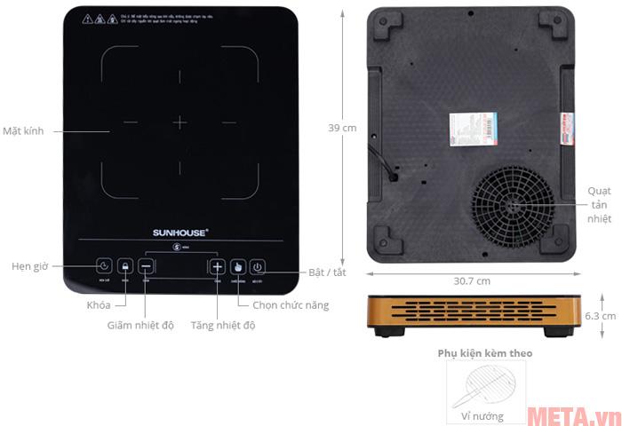 Thiết kế các bộ phận của bếp hồng ngoại đơn Sunhouse SHD6015