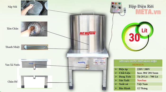 Cấu tạo của nồi trấn phở 30 lít - NPVN30L