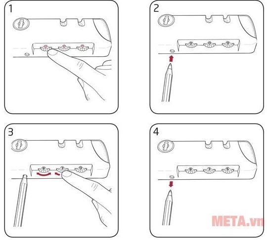 Cách minh họa thay đổi mật khẩu cho vali khóa số
