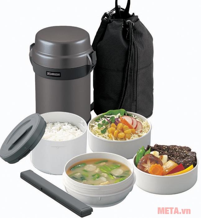 Bình đựng thức ăn Zojirushi SL-JAF14 có 4 ngăn, 1 đôi đũa và túi vải