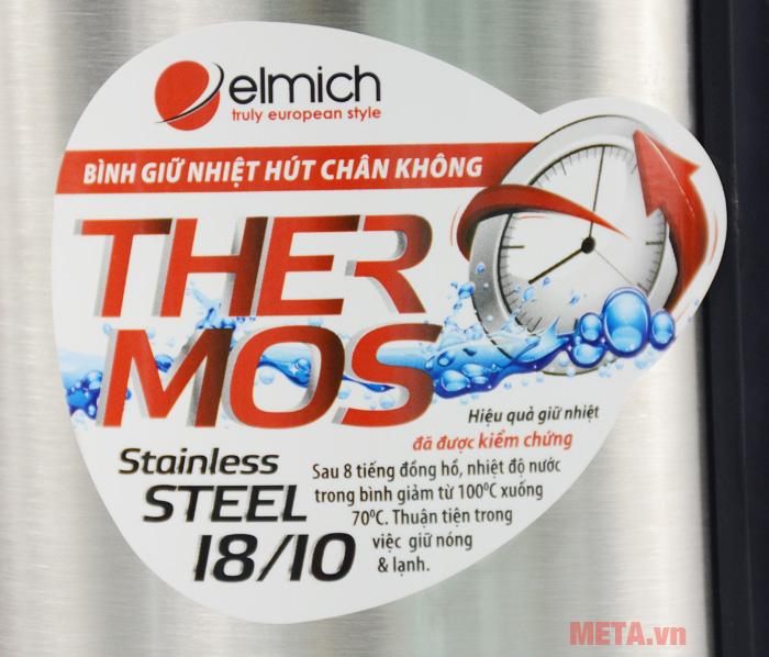 Bình giữ nhiệt Elmich 2246950 làm bằng inox