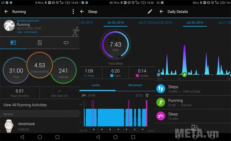 Đồng hồ Garmin vivomove HR (Premium edition) có khả năng tải dữ liệu lên công đồng Garmin Connect