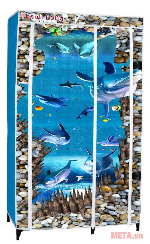 Tủ vải Thanh Long TVAI01 1m màu xanh biển đẹp mắt