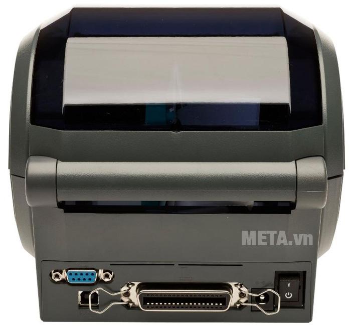 Máy in mã vạch, in tem nhãn Zebra GK420D có công tắc nguồn sau máy
