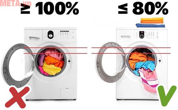 Bạn chỉ nên giặt 80% trọng lượng giặt của máy cho phép