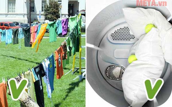 Quả bóng tennis sẽ giúp quần áo được mềm mại không bị cuốn vào nhau