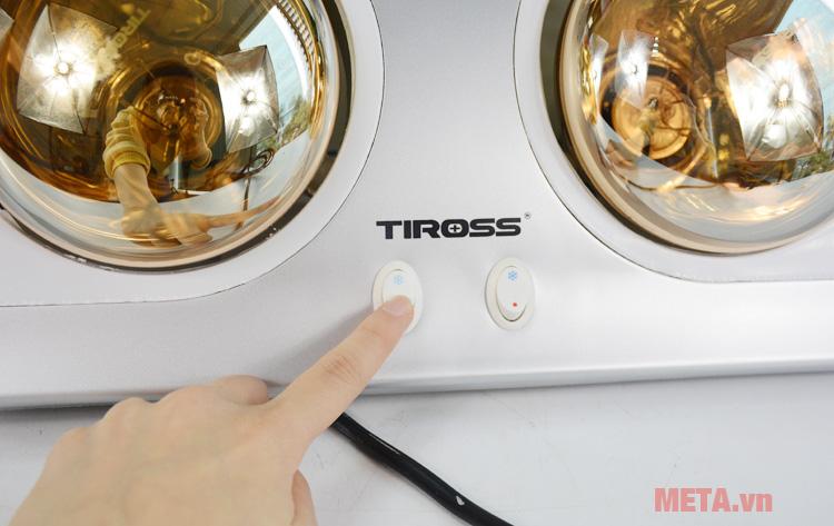 Đèn sưởi nhà tắm 2 bóng Tiross TS9291 sử dụng công tắc độc lập cho từng bóng.