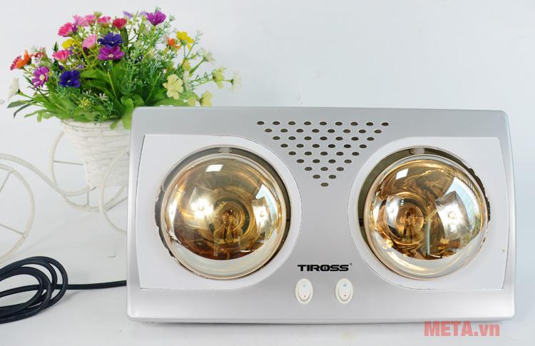 Đèn sưởi 2 bóng Tiross TS9291 có thiết kế sang trọng, tao nhã