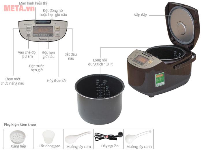 Thiết kế chi tiết các bộ phận nồi cơm điện nắp rời Panasonic