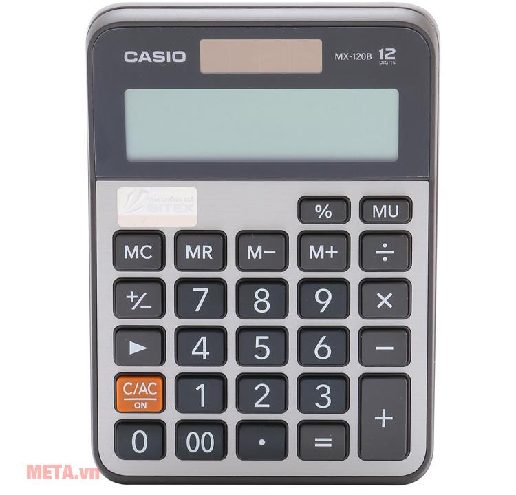 Máy tính bỏ túi Casio MX-120B có màn hỉnh lớn dễ dàng quan sát