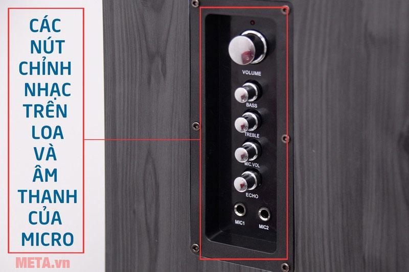 Các nút chỉnh nhạc trên loa