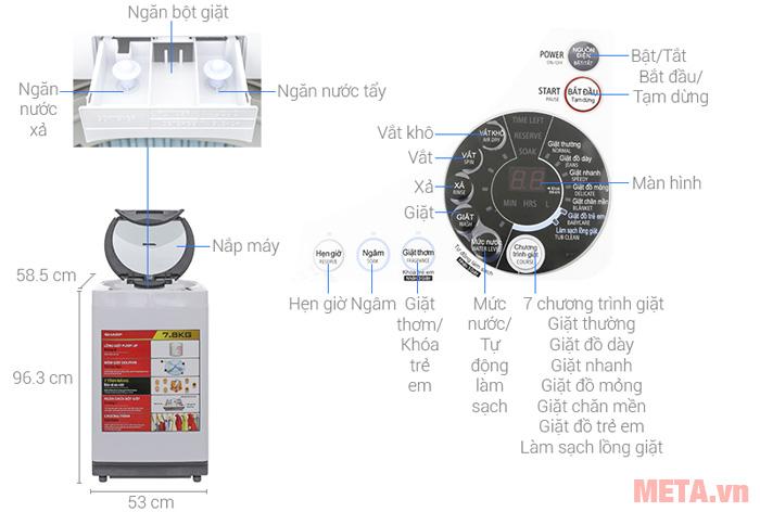 Thiết kế chi tiết của máy giặt cửa trên 7.8kg Sharp U78GV-H