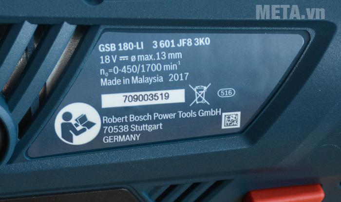 Thông số máy khoan pin