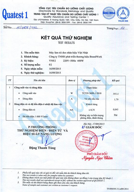 Giấy chứng nhận đạt tiêu chuẩn đo lường chất lượng cho máy làm tỏi đen Việt Nhật