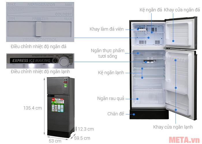 Cấu tạo của tủ lạnh 2 cánh Inverter Sharp SJ-X196E-DSS