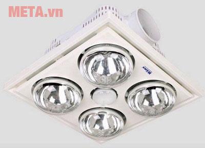 Đèn sưởi nhà tắm Hans có 4 bóng có thể sử dụng cho phòng tắm có diện tích lớn.