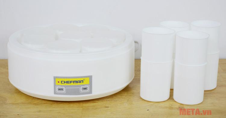 Máy làm sữa chua Chefman CM-301 đi kèm 16 cốc nhựa