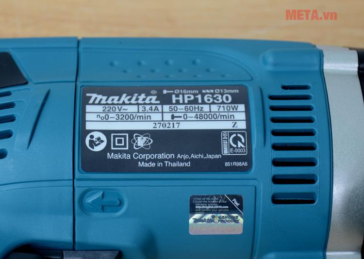 Thông số kỹ thuật của máy khoan Makita HP1630