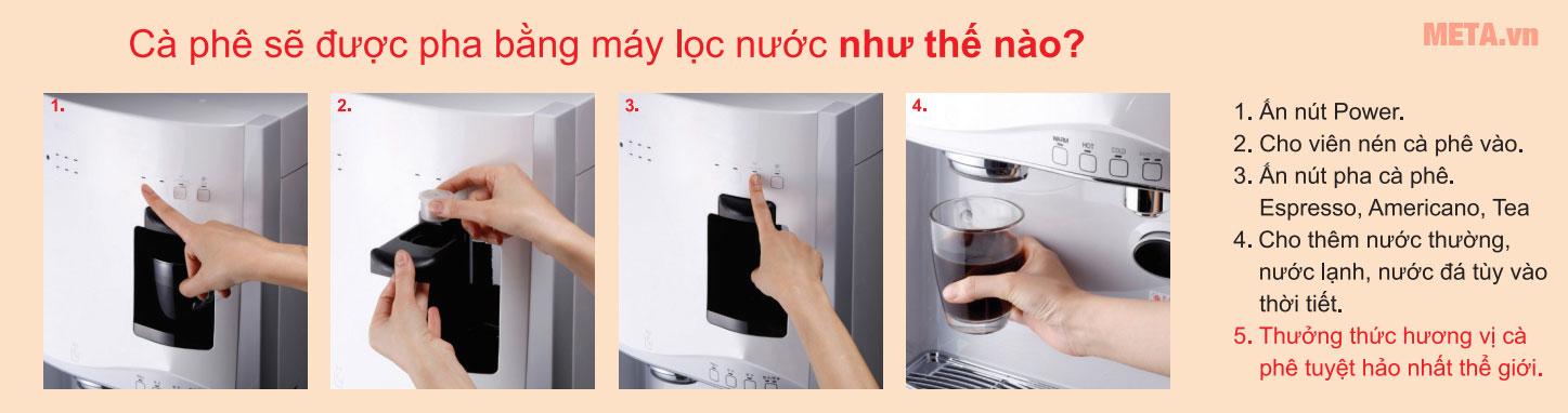Các bước pha cà phê với cây nước nóng lạnh