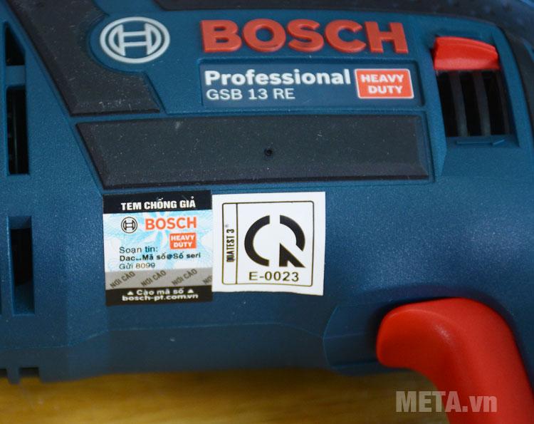 Tem chống hàng giả máy khoan Bosch GSB 13 RE