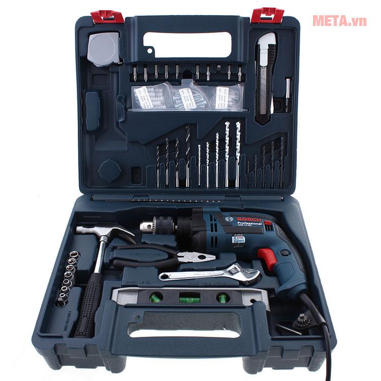 Bộ dụng cụ gồm 100 chi tiết máy khoan Bosch GSB 13 RE