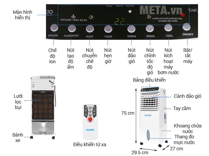 Máy làm mát không khí Daikio DK-800A lọc sạch bụi bẩn và mùi hôi khó chịu.