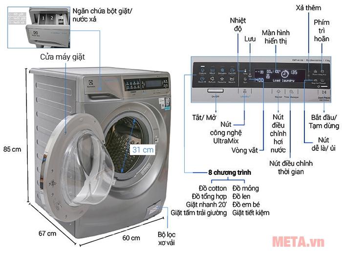 Máy giặt cửa trước 11kg Electrolux EWF14113S có thiết kế hiện đại